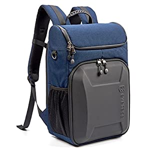 Evecase Shell DSLR Camera / 15.6-inch Laptop Water Resistant Backpack Travel Daypack w/ Rain Cover and Inner Bag for Nikon Canon Fujifilm Sony Digital SLR, Mirrorless Camera and More – Blue