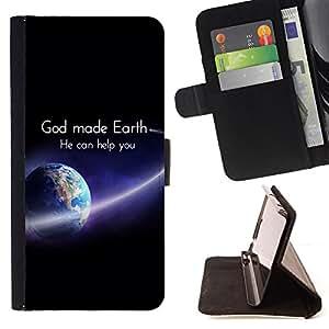"""BullDog Case - FOR/HTC One M8 / - / """"GOD MADE EARTH /- Monedero de cuero de la PU Llevar cubierta de la caja con el ID Credit Card Slots Flip funda de cuer"""