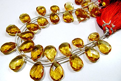 - Citrine Pear Shape Briolette Beads / Faceted Side Drilled Citrine Hydro Quartz Beads / 10x14mm Size / Strand 8 inches long / wholesale price