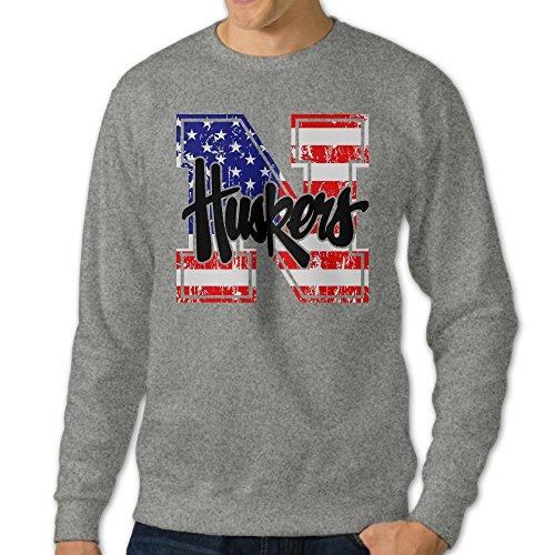 BestGifts Men's University Of Nebraska Lincoln Crew Neck Sweater Ash Size M (University Of Nebraska Lincoln Mascot Lil Red)
