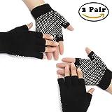 Nlife 2 Pairs Yoga Fingerless Gloves Exercise Grip Gloves Non-Slip...