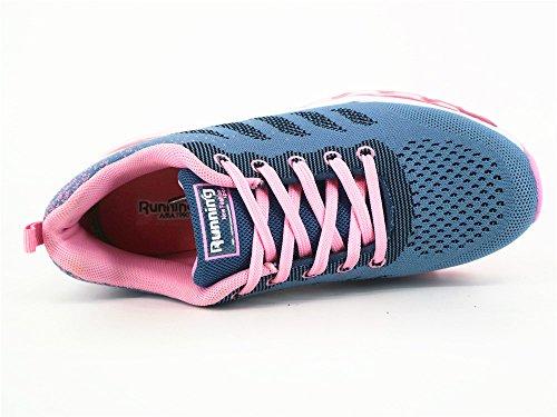 Turnschuhe Schuhe Graues Damen Herren Sneakers mit Laufschuhe Leichte BETY Sportschuhe Rosa Profilsohle Luftpolster YxaRqvw