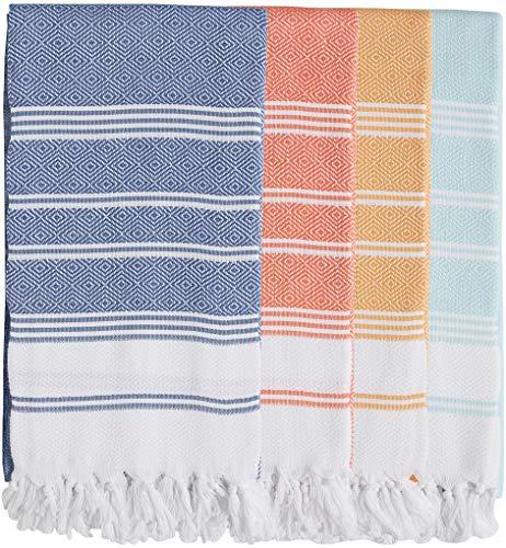 (SET of 4 - New Season BRIGHTEST Diamond Weave Turkish Cotton Bath Beach Hammam Towel Peshtemal Blanket (Coral-Teal-Lemon-Pistachio))