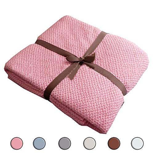 Sue&Joe Kids Throw Blanket - Pink Soft Couch Sofa Travel Warm Cozy Nap Chenille Child Knit Throw Blanket, 32