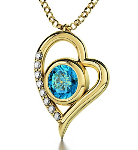 Gold Plated Heart Pendant Necklace I Love You 12 Languages 24k Gold Inscribed Blue Crystal, 18'' Chain by Nano Jewelry