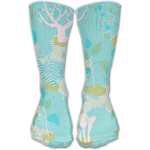 Blue Prickly Pear And Wood Crew Socks Stockings Tube Socks Casual Cotton Crew Socks Diabetic Socks