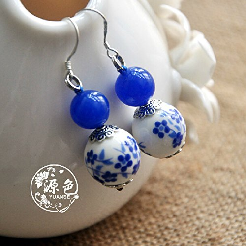 Original handmade custom navy blue chalcedony dignified temperament simple blue and white porcelain Chinese style earrings ear clip (Porcelain Clip Earrings)