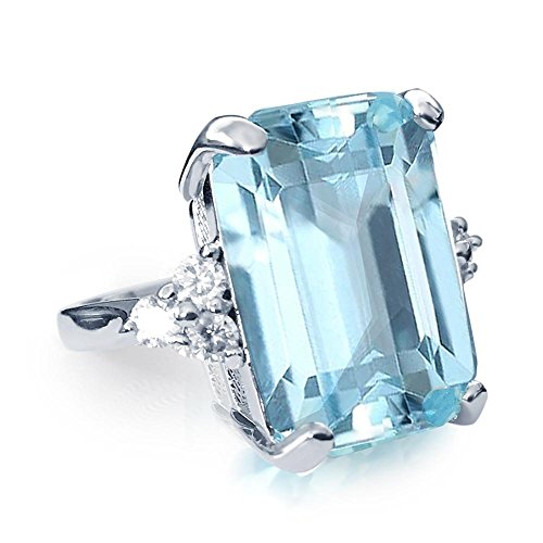 Samie Collection 20ctw Meghan Markle & Princess Diana Aquamarine Cocktail Ring Inspired Royal Wedding - Inspired Cubic Zirconia Ring