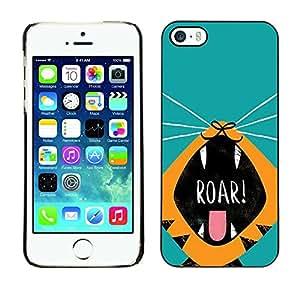 Cubierta de la caja de protección la piel dura para el Apple iPhone 5 / 5S - roar tiger puppy kitten teal cartoon drawing