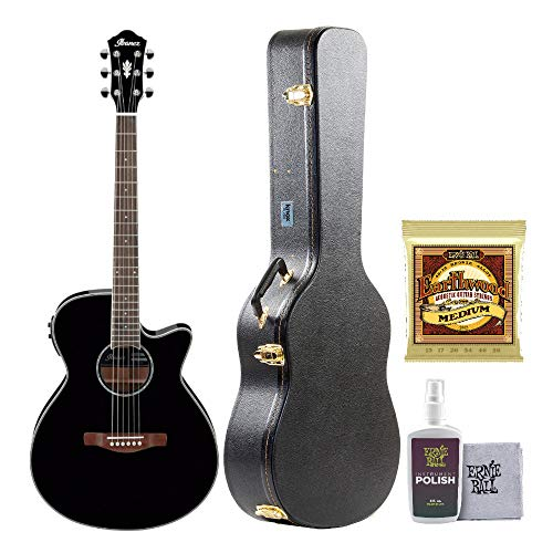 Ibanez AEG10II Left-handed Acoustic-Electric Guitar with Knox Protective Case, Polish/Cloth and Extra Guitar Strings