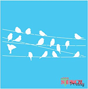 "Love Birds On A Wire DIY Rustic Chic Stencil Best Vinyl Large Stencils for Painting on Wood, Canvas, Wall, etc.-S (11.5"" x 4"")