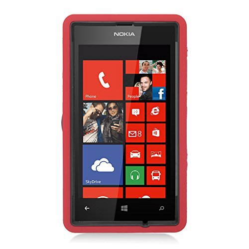 Eagle Cell Nokia Lumia 520 Hybrid Skin Case with Stand - Retail Packaging - Red/Black