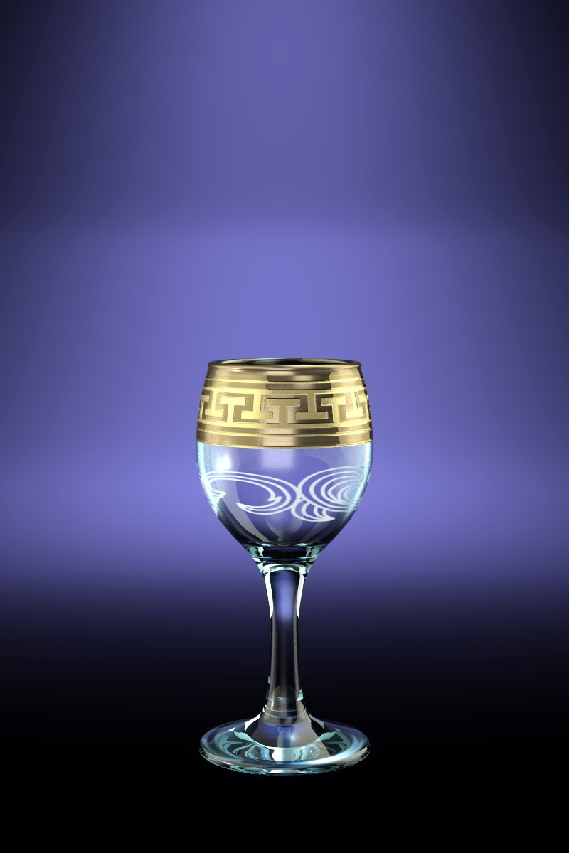 Crystal Goose GX-01-134, 2 Oz Sherry Liquor Glasses with Greek Key Gold-Plated Trim, Old-Fashioned Cordial Liquor Gilded Glasses with Etched Painting, 6-Piece Set by Crystal Goose (Image #1)