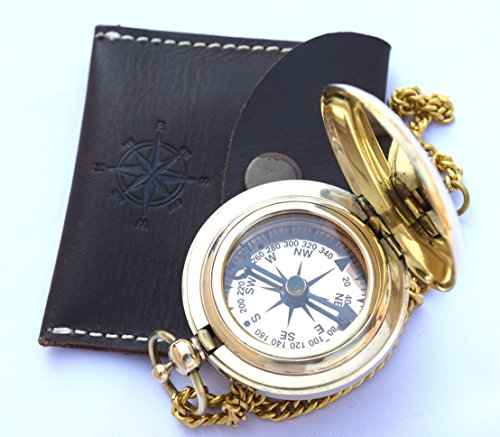 Price comparison product image Handmade Brass Push Open Compass On Chain With Leather Case, Pocket Compass For Hiking And Camping By Neovivid