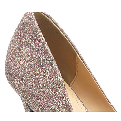 Sexy Strass Party De Chaussures Talons UK Mode Paillettes Hauts Cour Chaussures EU Nightclub 38 Travail 5 Noir Mariage Femme 5 Pink 6CM qvwnIx4FI
