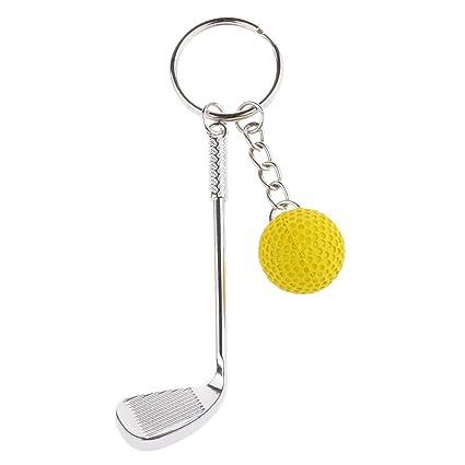 Juguetes Juegos Decoraciones Colgantes Llaveros Cadena Dominante Mini Golf Club Bola - Amarillo