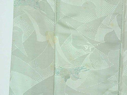 リサイクル紬 / 正絹薄グリーン地先染袷紬着物 / レディース【裄Sサイズ】(中古紬着物 中古つむぎ リサイクル 紬 リサイクル着物 )【ランクC】