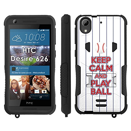 Flak Jacket Dual Armor with Kick-stand Phone Cover, Keep Calm and Play Ball - Texas - Mobiflare HTC Desire 626 Flak Jacket Dual Armor with Kick-stand Phone ()