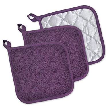 DII 100% Cotton, Machine Washable, Heat Resistant, Everyday Kitchen Basic, Terry Potholder, 7 x 7 , Set of 3, Eggplant