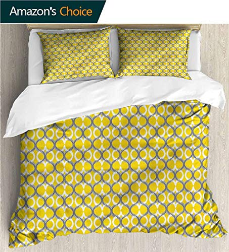 VROSELV-HOME 3 Piece Quilt Coverlet Bedspread,Box Stitched,Soft,Breathable,Hypoallergenic,Fade Resistant Bedding Set for Kids,Boys and Teens-Ikat Overlapping Curvy Ogee Meshes (80