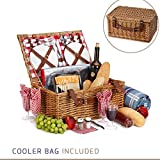 Picnic Basket For 4 With Insulated Cooler Bag – 30 Piece Kit Includes Wicker Basket with Stainless Steel Flatware, Ceramic Plates, Glasses, Linen Napkins and Blanket and More – by Vysta