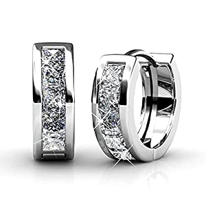 Cate & Chloe Giselle 18k White Gold Plated brass Crystal Hoop Earrings set with Swarovski, Small Hoops, Hypoallergenic