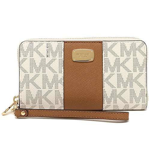 Michael Kors Jet Set Travel Center Stripe PVC Large Coin Multifunction Phone Case Wristlet (Vanilla / Acorn)