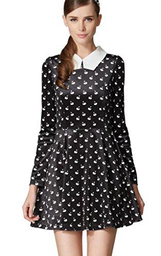 OSA Women Vintage Swan Printed Long Sleeve Tunic Shirt Dress Size S Black