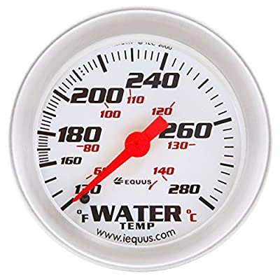 "Equus 8242 2"" Mechanical Water Temperature Gauge, White with Aluminum Bezel: Automotive"