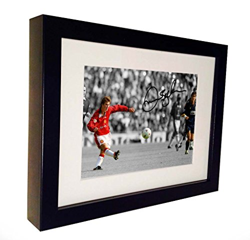 Kitbags & Lockers Signed David Beckham Halfway Goal Manchester United Autographed Photo Photograph Picture Frame