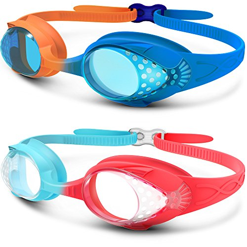 OutdoorMaster Kids Swimming Goggles - Fun Fish Style Swim Goggles for Children (Age 4-12) Leakproof Design, Shatterproof Anti-Fog 100% UV Protection Lens & Quick Adjustable Strap - Combo 2