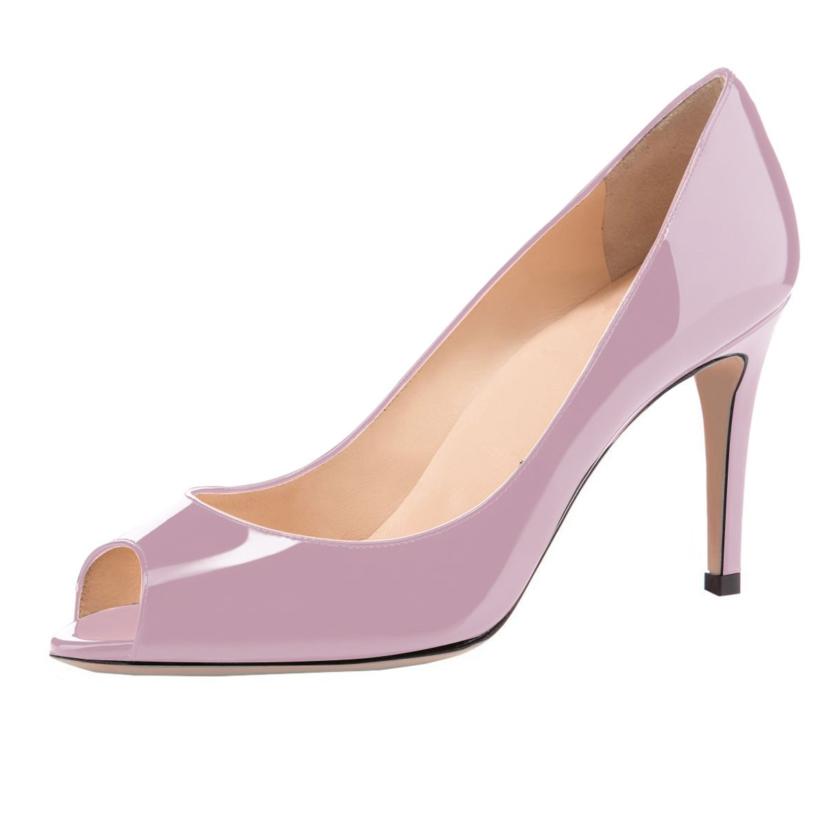 Eldof Women Peep Toe Pumps Mid-Heel Pumps Formal Wedding Bridal Classic Heel Open Toe Stiletto B07F1KMGF2 10.5 B(M) US|Light Purple