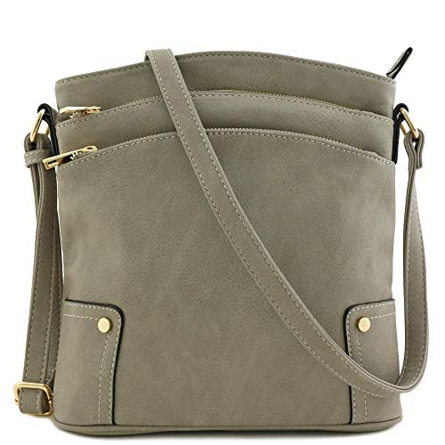 Triple Zip Pocket Large Crossbody Bag (Grey)