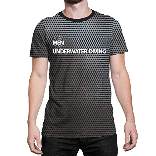 Eddany Real Men Love Underwater Diving Steel Plaque 3D Men T-Shirt Polyester Novelty L