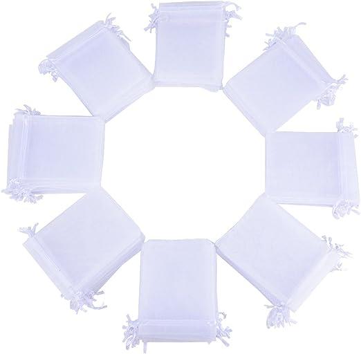 25 X Blanco Boda//Fiesta Confetti Bolsas De Organza