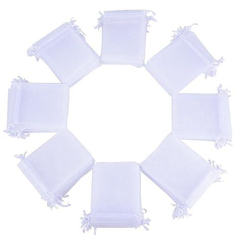 100pcs Bolsas Bolsitas de Organza Boda Blancas 10x12cm para Joyas Caramelo Dulces Regalo Recuerdo Favores Detalles de Boda