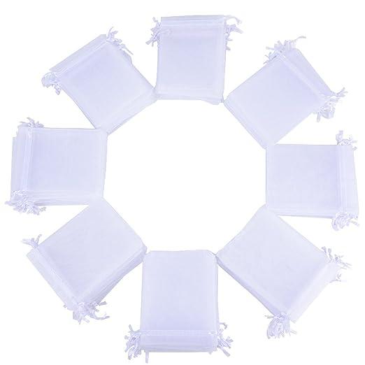 100x Bolsas de Organza Regalo Blanco (10x12cm) Bolsitas para Caramelos Recuerdos Invitados de Boda Fiesta Cumpleaños Navidad Halloween