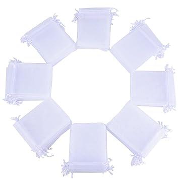 946d74345 100pcs Bolsas Bolsitas de Organza Boda Blancas 10x12cm para Joyas Caramelo  Dulces Regalo Recuerdo Favores Detalles de Boda: Amazon.es: Hogar