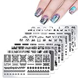 10 Plates Nail Stamping Kit Stamping Plates with Stamper and Scraper - DAODER Novel and Vivid Nail Printing Image Cute Animal Lace Flower Geometric Stripe Pattern Nail Plates for Nails