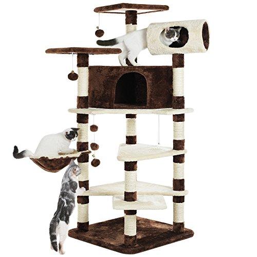 SONGMICS Árbol para Gatos Grande Rascador con Caseta Plataformas Grande Cesta Postes Recubiertos por Cuerda de Sisal Marrón-Beige PCT17Z: Amazon.es: Joyería