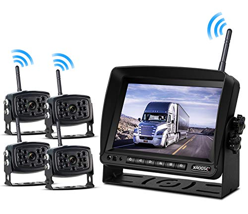 Wireless Backup Camera with Monitor System Split Screen for RV Rearview Reversing Back Camera No Interface IP69 Waterproof + Big 7'' Wireless Monitor for Truck Trailer Heavy Box Truck Motorhome … -