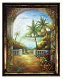 Caribbean Tropical Landscape Hand Painted Oil Painting; Tropical Terrace, Hawaii Tahiti Palm Coconut Tree Seascape 36x48 Framed (Bronze, 54.5'' X 42.5'') Other Frame Options Available