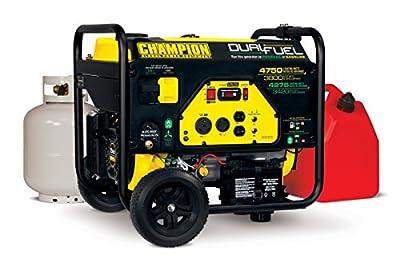 Champion Power Equipment #76533 4750 Watt DUAL FUEL Portable Generator w/Electric Start (CARB Compliant)