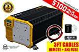 KRIËGER 4000 Watt 12V Power Inverter, Dual 110V AC outlets, Automotive back up power supply for refrigerators, microwaves, coffee makers, Chainsaws, vacuums, power tools. MET approved to UL and CSA