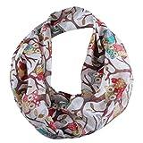 Tsmile Women's Owl Pattern Printed Scarves Shawl Large Size 50×70cm Voile Soft Wraps (White)