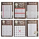 Mason Jar Bridal Shower Games, 6 Design | 30 Sheets Each | Wedding Advice & Games Cards for Guests Include Bridal Shower Bingo- He said, She, Said Bridal Shower Games for Guests Also Suit Anniversary
