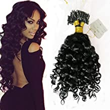 LUFFY Loose Wave Micro Loop Human Hair extensions Color #1 Jet Black 1g/Strands 100pcs Indian Virgin Human Hair Micro Loop Ring Hair Extensions (24 Inch)