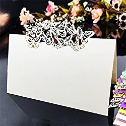 Table Name Place Cards,AmyTalk 50pcs Laser Cut Table Name Place Cards Escort Name Card for Wedding Party Decoration Favor (Butterfly Combo)