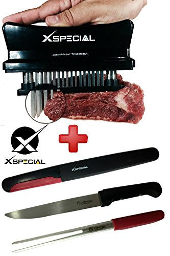 Kitchen Barbecue Bundle > BBQ Carve Knife & Fork + Just 4 Meat Tenderizer - Best Gadgets Stainless Steel For Tenderizing & Slicing Meats By X-Special (1,Black 48 Blades Tenderizers/1,Set Knife & Fork)