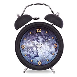 Slash 3 Mysterious Moon Vintage Retro Old Fashioned 3D Digitals Quiet Non-ticking Sweep Second Hand, Quartz Analog Clock, Battery Operated, Loud Alarm, Nightlight Function (Black) S10034